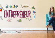 girl sitting in chair thinking. Entrepreneur written on wall next to her with all involved in being an entrepreneur pictured around it.