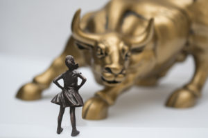 Bronze Bull & Girl on Wall Street