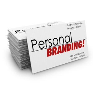 Personal Branding words on business cards to advertise your company's products or services or promote you as an expert in your field